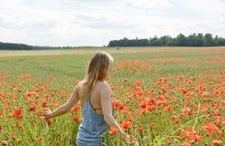 Frau, die auf dem Mohnblumegebiet geht Lizenzfreies Stockfoto