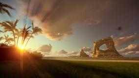 Frau, die auf der Strand- und Flugzeuglandung, schöner Sonnenaufgang läuft lizenzfreie abbildung