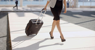 Frau, die auf eine Geschäftsreise geht Stockbilder