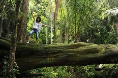 Frau, die auf einem Baum in einem tropischen Wald steht Stockfotos