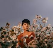 Frau, die auf einem Gebiet von Baumwolle auf rotem Wüstenkies in Arizona sitzt lizenzfreie stockfotos