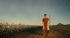 Frau, die auf einem Gebiet von Baumwolle auf rotem Wüstenkies in Arizona sitzt stockbild