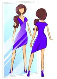 Frau, die auf einem Kleid versucht vektor abbildung