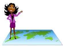 Frau, die auf Karte 2 steht stock abbildung