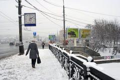 Frau, die auf schneebedeckte Straße geht Lizenzfreie Stockfotos