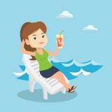 Frau, die auf Strandstuhl-Vektorillustration sich entspannt Stockfotos