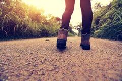 Frau, die auf Waldspur wandert Lizenzfreie Stockfotos