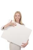 Frau, die Brett umarmt Stockfoto