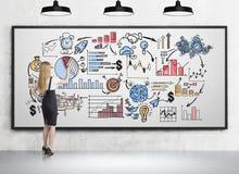 Frau, die bunte Ikonen auf whiteboard zeichnet Lizenzfreies Stockbild