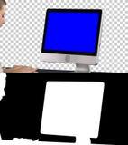 Frau, die Computer, Alpha Channel verwendet Blue Screen-Modell-Anzeige stockfotografie