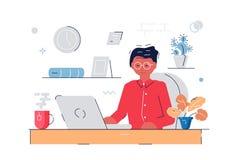 Frau, die am Computer arbeitet lizenzfreie abbildung