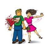 Frau, die das Herz eines Mannes von seinem Kasten stiehlt Stockfoto