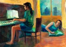 Frau, die das Klavier spielt stock abbildung