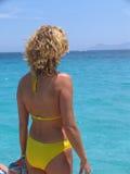 Frau, die das Meer betrachtet Stockbild