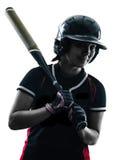 Frau, die das Softballspielerschattenbild lokalisiert spielt Stockbilder