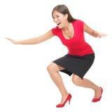 Frau, die das Spaßsurfen hat Stockfotos