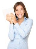 Frau, die das Zeichen nett zeigt Lizenzfreie Stockbilder