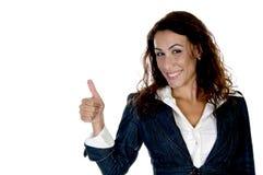 Frau, die Daumen zeigt Lizenzfreies Stockfoto