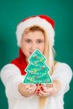 Frau, die dekorativen Weihnachtsbaum hält Stockbilder