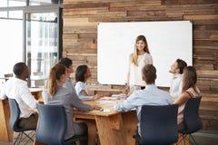 Frau, die dem Geschäftsteam eine Darstellung am whiteboard gibt stockfotografie