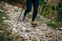 Frau, die in den Bergen wandert Stockfotos
