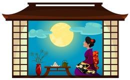 Frau, die den Mond aufpasst Stockbilder