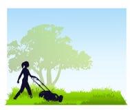 Frau, die den Rasen mäht vektor abbildung