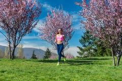 Frau, die den Sport läuft auf Hügel zwischen blühende Kirschbäume tut Lizenzfreie Stockbilder
