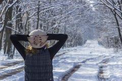 Frau, die den Wald am Wintertag erwägt Stockfotos