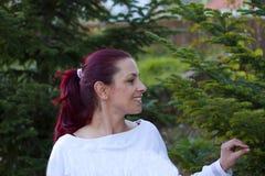 Frau, die den Weihnachtsbaum wählt Stockbild