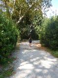 Frau, die durch den Herbstpark läuft lizenzfreies stockfoto