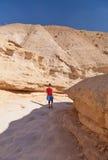 Frau, die durch die Schlucht in der Wüste geht Lizenzfreies Stockfoto