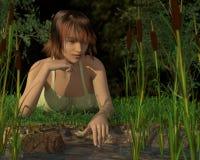 Frau, die durch einen Teich sich reflektiert lizenzfreie stockbilder