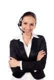 Frau, die durch Telefon als Kundendienst spricht Stockbilder