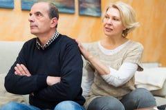 Frau, die Ehemann um Verzeihen bittet Lizenzfreie Stockfotografie