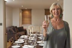 Frau, die ein Abendessen wirft stockbilder