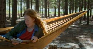 Frau, die ein Buch im Wald 4k liest stock footage