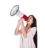 Frau, die in ein lautes hailer schreit Lizenzfreies Stockfoto