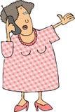 Frau, die ein Mobiltelefon verwendet lizenzfreie abbildung