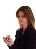 Frau, die ein pda verwendet Stockfotos
