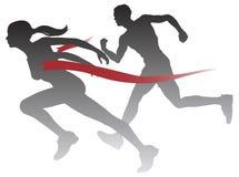Frau, die ein Rennen gewinnt Lizenzfreie Stockbilder