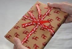 Frau, die ein schön eingewickeltes Weihnachtsgeschenk hält stockfotos