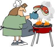 Frau, die ein Steak grillt lizenzfreie abbildung