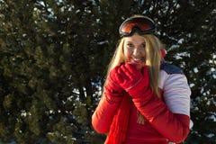 Frau, die ein Teecup im Winter anhält Stockbilder