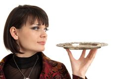 Frau, die ein Tellersegment anhält Lizenzfreie Stockbilder
