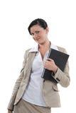 Frau, die eine Blockanmerkung hält Lizenzfreies Stockfoto