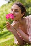 Frau, die eine Blume beim Lügen auf ihrer Frontseite riecht Stockfotografie