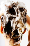 Frau, die eine Dusche nimmt und ihr Haar shampooing Lokalisiert auf Weiß Lizenzfreie Stockfotos