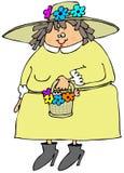 Frau, die eine Frühlingsmütze trägt lizenzfreie abbildung