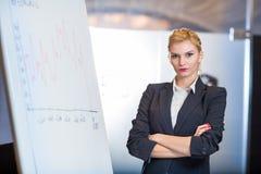 Frau, die eine Geschäfts-Darstellung bildet Stockbild